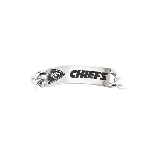 Stainless Steel Kansas City Chiefs Team Name and Logo ID Bracelet - 8 Inch
