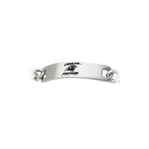 Stainless Steel Carolina Panthers Team Name and Logo ID Bracelet - 8 Inch