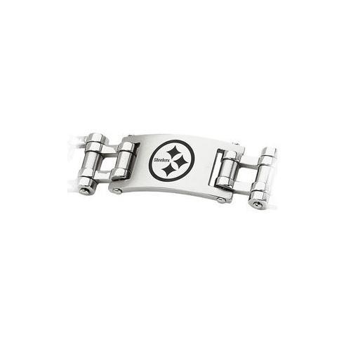 Stainless Steel Pittsburgh Steelers Team Logo Bracelet - 8 Inch
