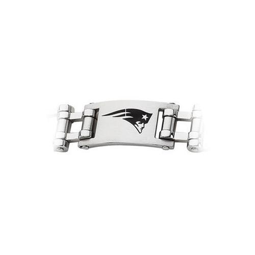 Stainless Steel New England Patriots Team Logo Bracelet - 8 Inch