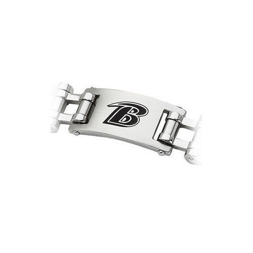 Stainless Steel Baltimore Ravens Team Logo Bracelet - 8 Inch