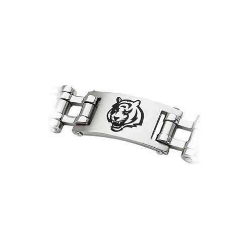 Stainless Steel Cincinnati Bengals Team Logo Bracelet - 8 Inch