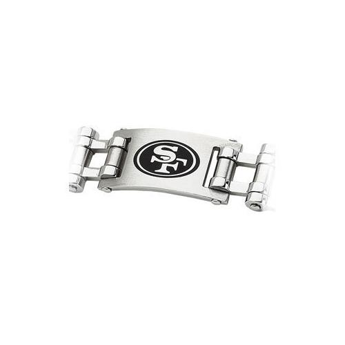 Stainless Steel San Francisco 49ers Team Logo Bracelet - 8 Inch