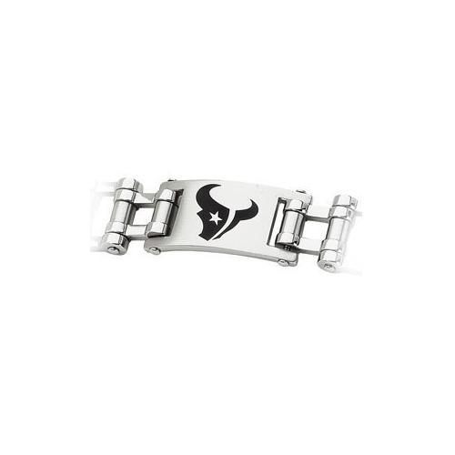 Stainless Steel Houston Texans Team Logo Bracelet - 8 Inch