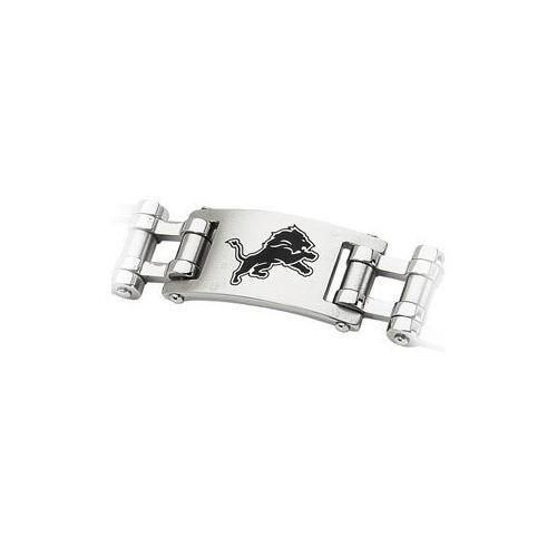 Stainless Steel Detroit Lions Team Logo Bracelet - 8 Inch