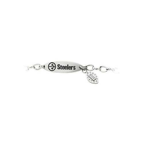 Stainless Steel Pittsburgh Steelers Team Name and Logo Dangle Bracelet - 7.5 Inch