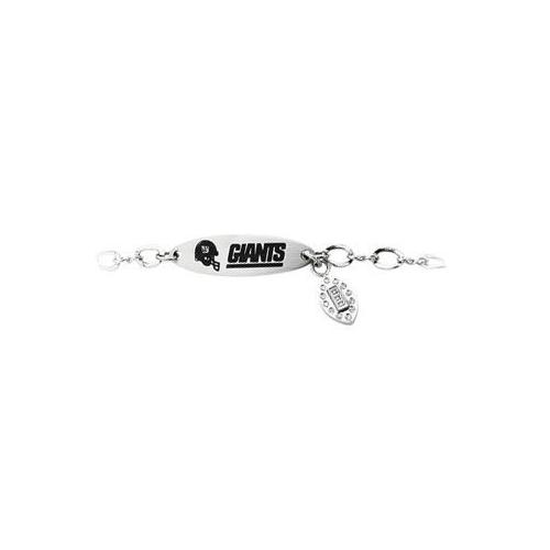 Stainless Steel New York Giants Team Name and Logo Dangle Bracelet - 7.5 Inches