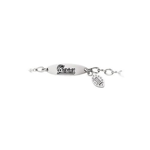 Stainless Steel New England Patriots Team Name and Logo Dangle Bracelet - 7.5 Inches