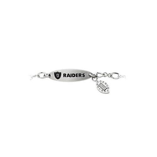 Stainless Steel Oakland Raiders Team Name and Logo Dangle Bracelet - 7.5 Inch