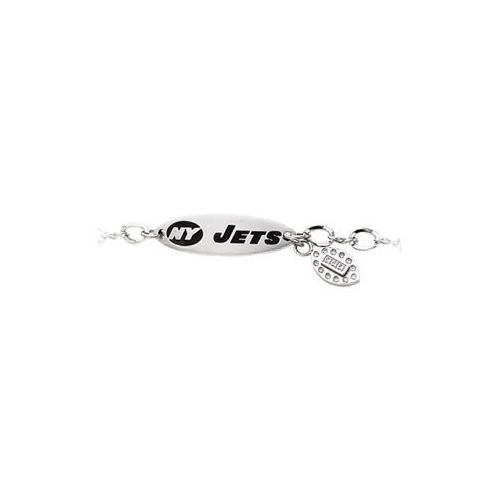 Stainless Steel New York Jets Team Name and Logo Dangle Bracelet - 7.5 Inches