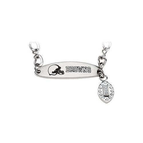 Stainless Steel Cleveland Browns Team Name and Logo Dangle Bracelet - 7.5 Inch