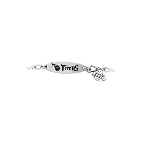 Stainless Steel Tennessee Titans Team Name and Logo Dangle Bracelet - 7.5 Inch