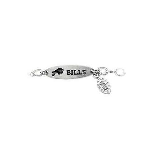 Stainless Steel Buffalo Bills Team Name and Logo Dangle Bracelet - 7.5 Inch