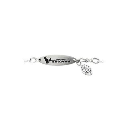 Stainless Steel Houston Texans Team Name and Logo Dangle Bracelet - 7.5 Inch