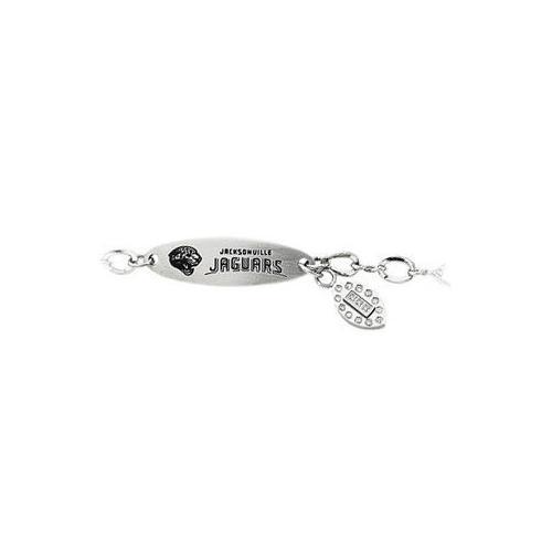 Stainless Steel Jacksonville Jaguars Team Name and Logo Dangle Bracelet - 7.5 Inch