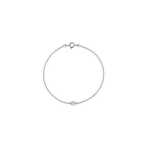 Bezel-set Diamond Bracelet : 14K White Gold - 0.15 CT Diamonds