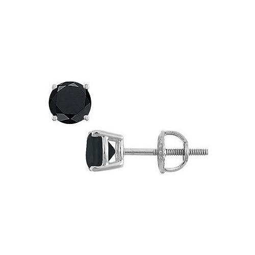 14K White Gold : Round Black Diamond Stud Earrings – 2.50 CT. TW.