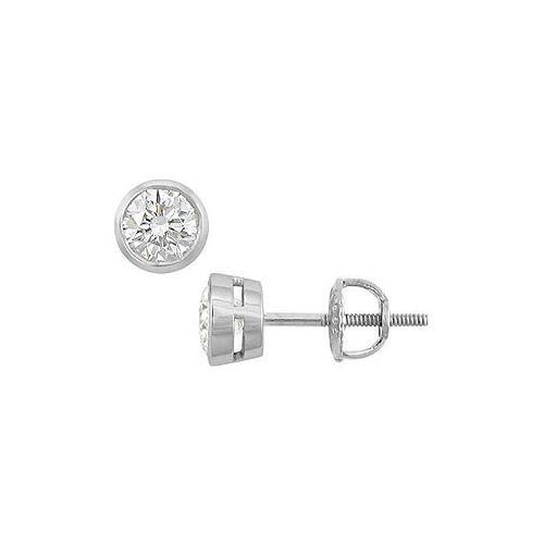 14K White Gold : Bezel-Set Round Diamond Stud Earrings – 0.50 CT. TW.