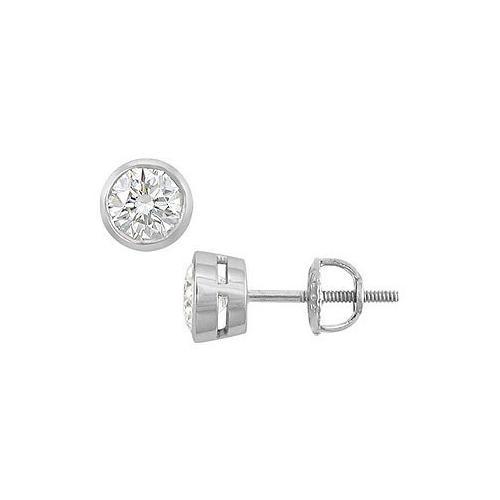 14K White Gold : Bezel-Set Round Diamond Stud Earrings – 1.00 CT. TW.