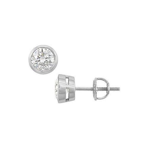 14K White Gold : Bezel-Set Round Diamond Stud Earrings – 1.50 CT. TW.