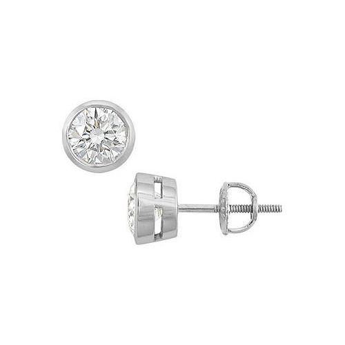 14K White Gold : Bezel-Set Round Diamond Stud Earrings – 2.00 CT. TW.
