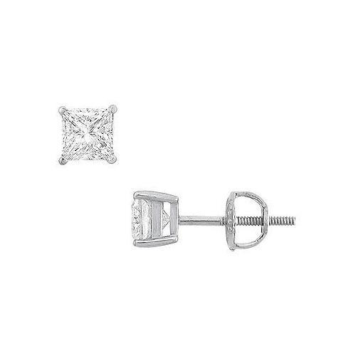 14K White Gold : Princess Cubic Zirconia Stud Earrings – 1.00 CT. TGW.