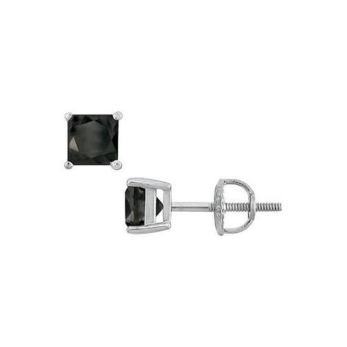 14K White Gold : Princess Cut Black Diamond Stud Earrings – 2.00 CT. TW.