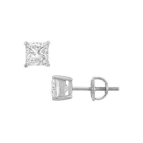 14K White Gold : Princess Cubic Zirconia Stud Earrings – 2.00 CT. TGW.