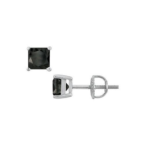 14K White Gold : Princess Cut Black Diamond Stud Earrings – 2.50 CT. TW.
