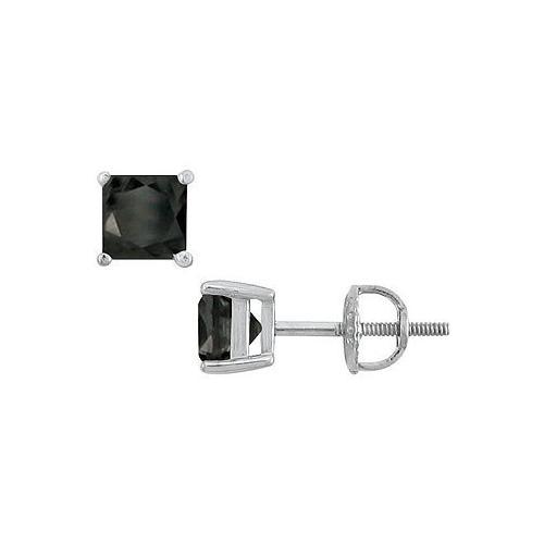 14K White Gold : Princess Cut Black Diamond Stud Earrings – 3.00 CT. TW.