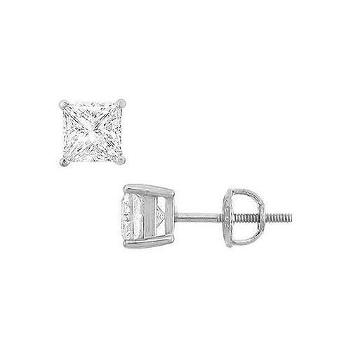 14K White Gold : Princess Cubic Zirconia Stud Earrings – 3.00 CT. TGW.
