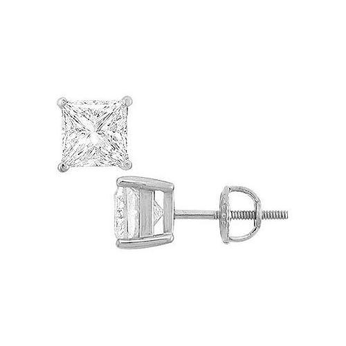 14K White Gold : Princess Cubic Zirconia Stud Earrings – 8.00 CT. TGW.