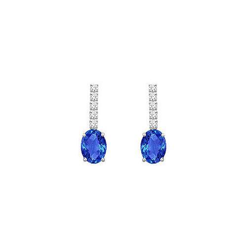 Diamond and Sapphire Earrings : 14K White Gold - 1.25 CT TGW