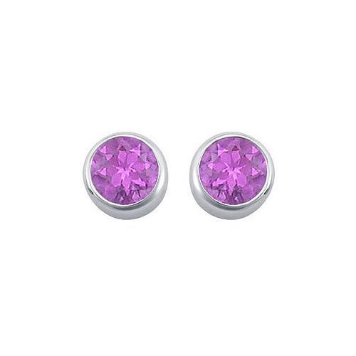 Amethyst Bezel-Set Stud Earrings : .925 Sterling Silver - 2.00 CT TGW