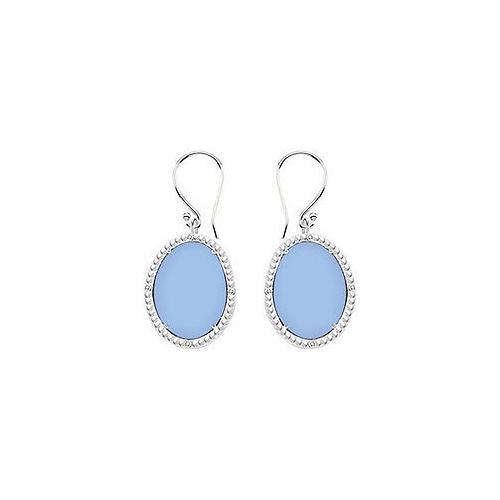 10K White Gold Aqua Chalcedony and Diamond Earrings 30.16 CT TGW