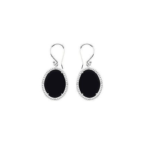 10K White Gold Black Onyx and Diamond Earrings 30.16 CT TGW