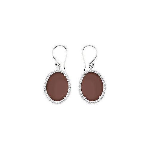 10K White Gold Chocolate Chalcedony and Diamond Earrings 30.16 CT TGW