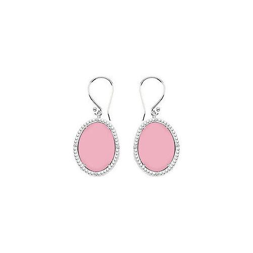 10K White Gold Pink Chalcedony and Diamond Earrings 30.16 CT TGW