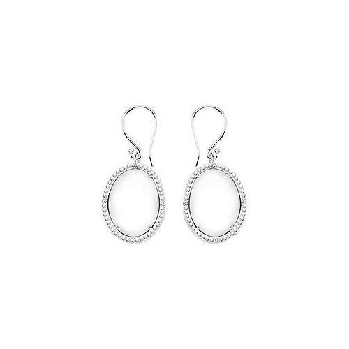 10K White Gold White Agate and Diamond Earrings 30.16 CT TGW