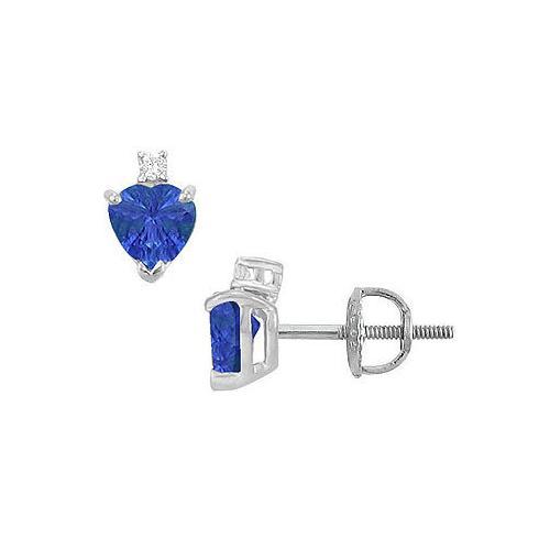 Diamond and Sapphire Stud Earrings : 14K White Gold - 2.04 CT TGW