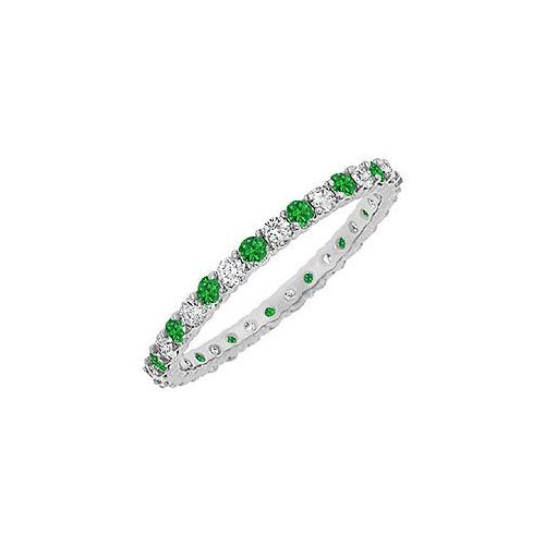 Emerald and Diamond Eternity Bangle : 14K White Gold - 10.00 CT TGW