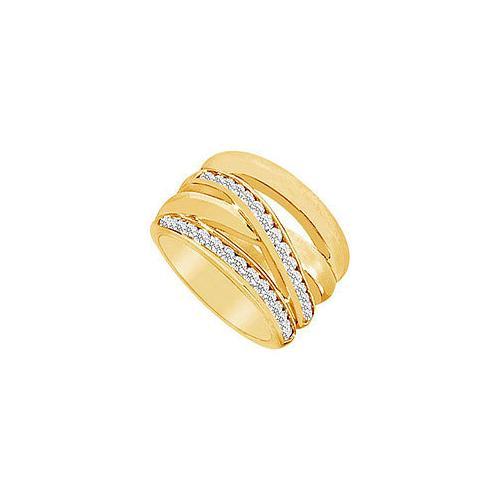 Diamond Crossover Ring : 14K Yellow Gold - 0.75 CT Diamonds
