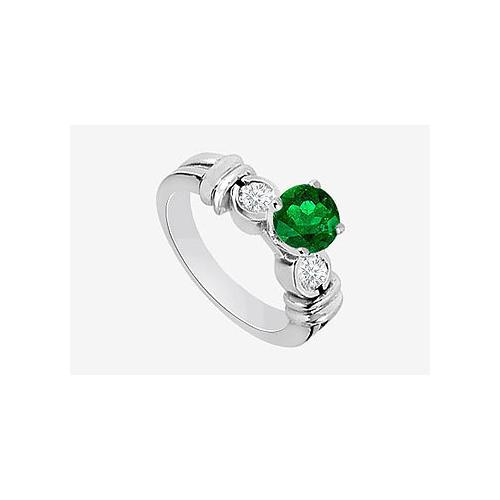 14K White Gold Engagement Ring in Diamond and Natural Emerald  0.80 Carat TGW