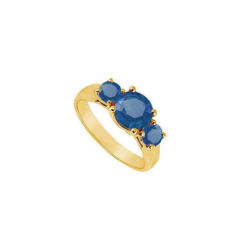 Three Stone Sapphire Ring : 14K Yellow Gold - 1.00 CT TGW