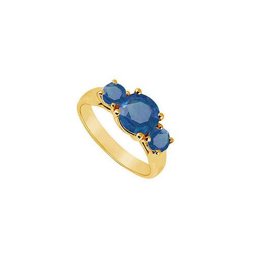Three Stone Sapphire Ring : 14K Yellow Gold - 1.25 CT TGW