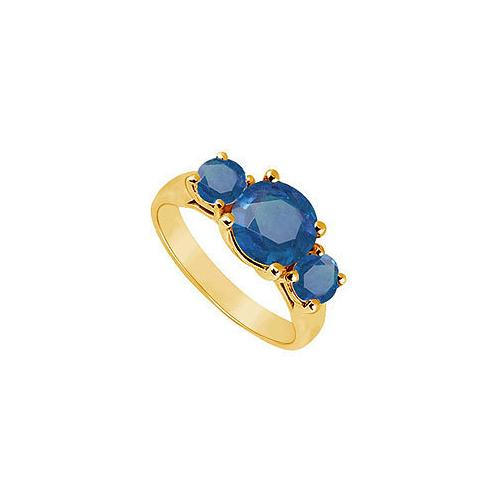 Three Stone Sapphire Ring : 14K Yellow Gold - 2.00 CT TGW