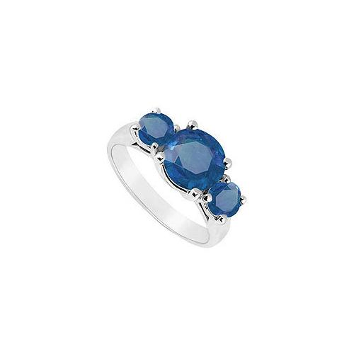 Three Stone Sapphire Ring : 14K White Gold - 2.50 CT TGW