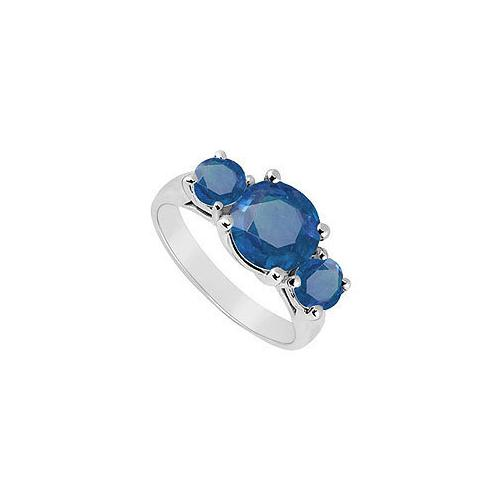 Three Stone Sapphire Ring : 14K White Gold - 3.00 CT TGW