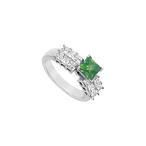 Emerald and Diamond Engagement Ring : 14K White gold - 1.75 CT TGW