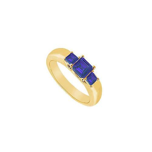 Three Stone Sapphire Ring : 14K Yellow Gold - 0.25 CT TGW